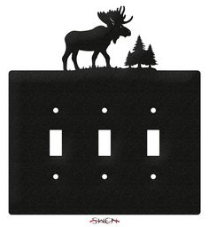 Moose Wildlife Light Switch Triple Plate Cover от swenproducts
