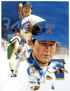 Nolan Ryan by Cliff Spohn 1999 National Baseball League, Nolan Ryan, Baseball Art, Sports Art, Texas Rangers, Major League, Cliff, Illustrators, Artworks