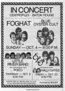 Centroplex in Baton Rouge with our good friends BOC, Little River Band and Hall and Oates Music Love, Art Music, Music Artists, Good Music, Bruce Dickinson, Tour Posters, Music Posters, Event Posters, Classic Rock And Roll