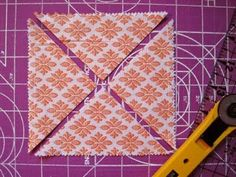 """AWESOME TRICK for Making """"Half-Square Triangles"""" - Sew 2 large squares together around the edges (for example - the other piece of fabric might be white) - Cut an X, press open"""