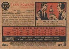 2011 Topps Heritage #220 Ryan Howard Back