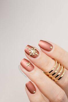 Easy Metallic Studded Nail Art