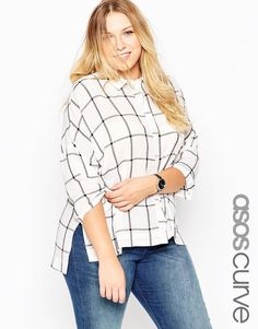 ASOS CURVE Crinkle Oversize Check Shirt