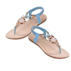 2afb6946a Hatop Women Summer Indoor Outdoor Rhinestone Owl Sweet Sandals Clip Toe Sandals  Beach Shoes 8 Blue