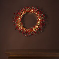 Lights.com | Decor | Decorative Lights | Trees, Wreaths & Garlands | LED Holiday Berry Wreath