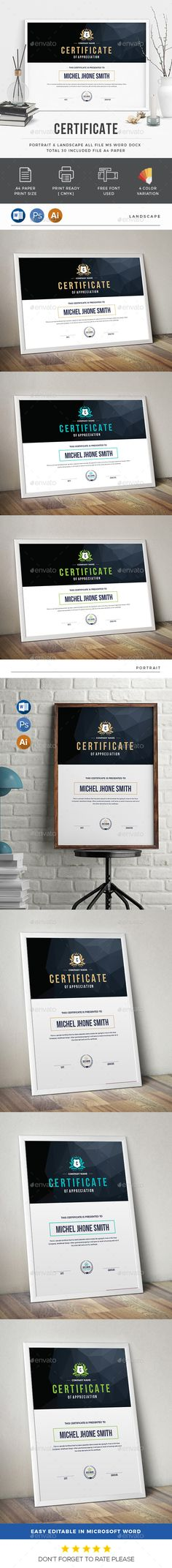 Buy Certificate by generousart on GraphicRiver. Features of Certificate Template Color Versions Paper Size With Bleeds Quick and easy to customize templates Chan. Certificate Layout, Certificate Background, Certificate Design Template, Web Design, Book Design, Layout Design, Print Design, Modern Design, Travel Brochure Design