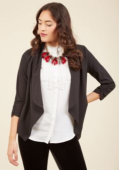 <p>In this black jacket, you look fittingly lively for planning events, designing campaigns, and beyond. The ruched sleeves, open front, and pointed hem of this sheer layer inspire you to lead brainstorm sessions and conference calls with as much ingenuity as you have chic style.</p>