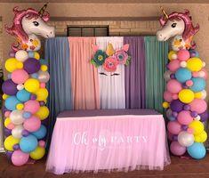 Unicorn Birthday Party Carousel Birthday Parties, Unicorn Themed Birthday Party, Birthday Party For Teens, Rainbow Birthday Party, Birthday Diy, Unicorn Party, Jojo Siwa Birthday, Baby Girl 1st Birthday, Girl Birthday Themes