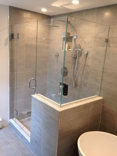 Frameless Glass Shower Door Yorktown Heights, N. Master Bathroom Shower, Bathroom Faucets, Small Bathroom, Bathroom Bin, Bathroom Showers, Modern Bathroom, Bathrooms, Frameless Shower Enclosures, Frameless Shower Doors