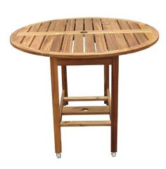 Merry Garden Acacia Folding Dining Table: Folding Round Dining Table with Umbrella Hole Round Patio Table, Round Folding Table, Deck Table, Patio Dining, Outdoor Dining, Outdoor Tables, Outdoor Decor, Patio Tables, Outdoor Spaces