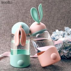 Buy Cute Rabbit Glass Cup Outdoor Sports Travel Water Bottle Leak-proof Portable Trendy Students Water Bottle Promotion at Wish - Shopping Made Fun Travel Water Bottle, Drinking Water Bottle, Cute Water Bottles, Glass Water Bottle, Drink Bottles, Bottle Bottle, Plastic Bottle, Kawaii Bunny, Cute Bunny