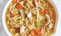We've upgraded the nutritional value of this hearty chicken noodle soup by using collagen-rich bone broth instead of regular stock or broth. Easy Healthy Pasta Recipes, Healthy Sweet Snacks, Nutritious Snacks, Chicken Pasta Recipes, Healthy Pastas, Soup Recipes, Healthy Foods, Chicken Noodles, Chowder Recipes
