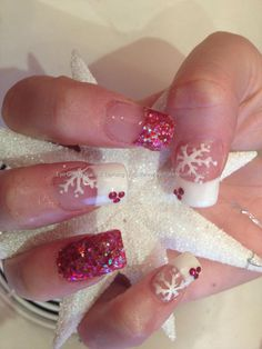 Acrylic nails with red glitter nail art