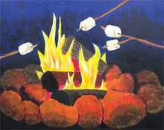 """Social Artworking Canvas Painting Design - Toasty Campfire Nothing says outdoors like roasting marshmallows over a campfire. Can you taste the s'mores? S'mores and hot chocolate would be a perfect snack to serve while your students paint this design. Go all out with a camping theme for the evening!  CANVAS SIZE:  16"""" x 20""""  TIME TO PAINT:  approximately 1 hour 30 minutes"""