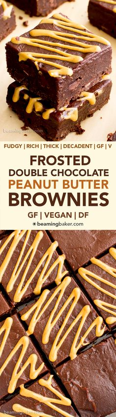 Double Chocolate Frosted Peanut Butter Brownies (V, GF, DF): an easy recipe for rich, fudgy peanut butter brownies slathered in chocolate PB frosting. #Vegan #GlutenFree #DairyFree | BeamingBaker.com