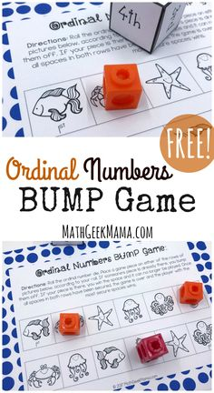 Grab some fun and simple practice with this free ordinal numbers game! This printable board game will help kids understand position with ordinal numbers. Number Games Kindergarten, Easy Math Games, Fun Math Activities, Numbers Preschool, Math Resources, Preschool Math, Math Enrichment, Kindergarten Curriculum, English Activities