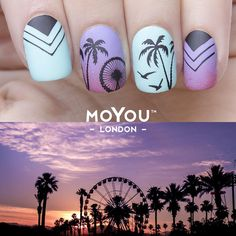 "MoYou-London on Instagram: "" Coachella is wrapping up for another year #takemeback  We don't want to lose our #coachellavibes so heres a mani for some inspiration for all the festivals coming up YAY!  *Tourist - 01, Holy Shapes - 05, Tropical - 12, Mother Nature - 08*"""