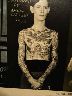 Literally word didn't exist in No ur history<br> Vintage Chest Tattoo, Antique Tattoo, Vintage Tattoos, Russian Prison Tattoos, Russian Tattoo, Amund Dietzel, Traditional Tattoo Man, History Tattoos, Sailor Jerry Tattoos