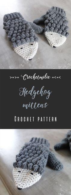 Crochetmilie Crochet pattern - Hedgehog mittens for teen / adult