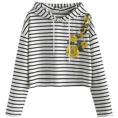 Flower Patched Striped Drawstring Hoodie Black Stripe S (167040 PYG) ❤ liked on Polyvore featuring tops and hoodies