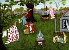 """""""Laundry Day"""", giclee print signed by American Artist Barbara Steele Thibodeaux This fun print will liven up any laundry room! Laundry Art, Primitive Folk Art, Naive Art, Clothes Line, Fun Prints, Photos, Pictures, American Artists, Giclee Print"""