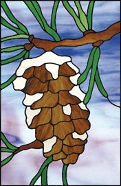 """""""Small Treasure"""" winter pinecone stained glass"""