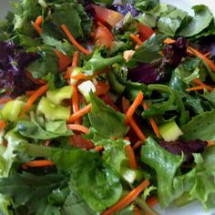 Healthy living- day2 - dinner salad with mixed greens, chopped tomatoes, chopped green pepper, carrot, parsley. All organic.