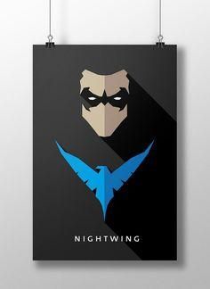 """Richard John, """"Dick - Nightwing"""" Grayson é o filho biológico de Mary Grayson e John Grayson. Tendo sido aparte do Flying Grayson e agir no Haly's Circus, seus pais foram mais tarde mortos por Tony Zucco durante uma performance. Ele é posteriormente adotado por Bruce Wayne (também conhecido como Batman). """"Para saber mais clique na imagem"""""""