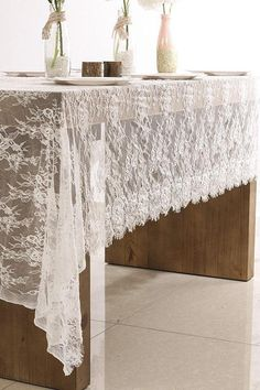 Vintage Soft White Lace Tablecloth Wedding Table Overlay