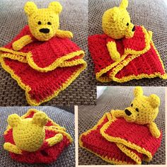 Winnie the Pooh Lovey Winnie The Pooh, Knit Crochet, Pokemon, Teddy Bear, Homemade, Knitting, Animals, Animales, Winnie The Pooh Ears