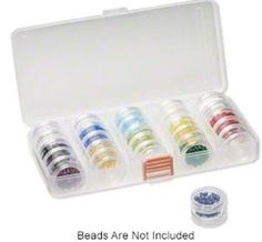 Durable clear plastic organizer features:  •Four removable dividers for up to five adjustable compartments •Five stackable space-saving jars with threaded tops and bottoms that screw together (20 jars total) and five lids. Snap closure securely holds jars in place for storage and travel.  #diyjewelry #beading #diyjewerlymaking