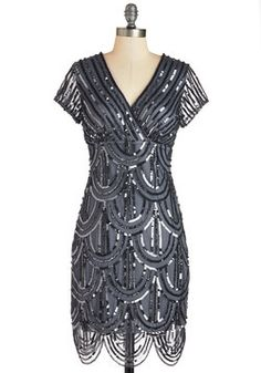 Cascading Cava Dress. You feel bubbly and beautiful as you mingle in this art-deco-inspired dress! #grey #modcloth