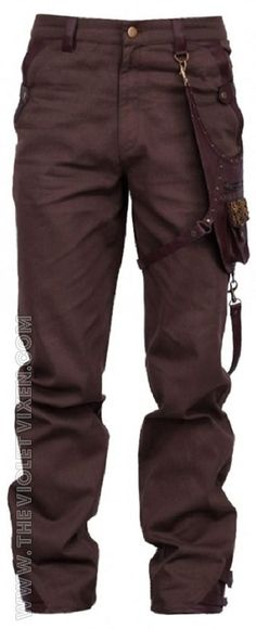 Brown steampunk mens trousers. Detachable, included pouch with awesome hand beaded detail. Super versatile! The Violet Vixen - Aetherized Trooper Pants, $137.00 (http://thevioletvixen.com/clothing/mens/trousers/aetherized-trooper-pants/):