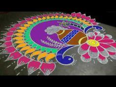 Beautiful pongal pot peacock rangoli//peacock rangoli design for pongal Rangoli Side Designs, Rangoli Designs Latest, Simple Rangoli Designs Images, Rangoli Borders, Free Hand Rangoli Design, Small Rangoli Design, Rangoli Patterns, Colorful Rangoli Designs, Rangoli Designs Diwali