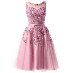 EverBeauties Knielang Damen Abendkleider Perlstickerei Spitze Applique T¨¹ll Kurz Ballkleid Rosa 50