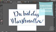 Handlettering vektorisieren mit Adobe Illustrator | Lettering | Ideen | Anleitung | Du bist das Marshmallow in meinem Kakao | Gelbkariert