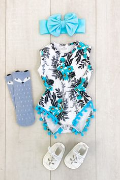 8bd9a1442df Turquoise   Gray Floral Pom Pom Romper