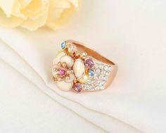 Rose Gold Plate SWAROVSKI Elements Austrian Crystal Enamel Flower Ring, $28.00