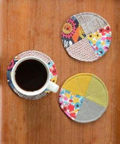 Beginner Crafts DIY Coasters is part of Scrap Fabric crafts - If you have never crafted before, DIY coasters are a great place to start! These ideas will allow you to try a variety of handmade techniques Scrap Fabric Projects, Easy Sewing Projects, Sewing Projects For Beginners, Fabric Scraps, Sewing Hacks, Sewing Tutorials, Sewing Crafts, Craft Projects, Sewing Tips