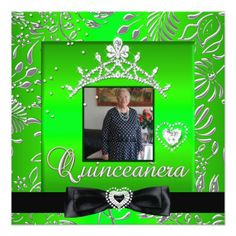 Quinceanera 15th Party Lime Green Silver Damask Card
