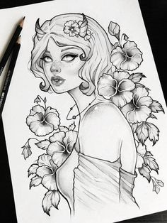 Draw Rose Demon of spring gothic pencil art skull tattoo design ravens grunge roses boho fantasy gothic occult - Gothic Drawings, Demon Drawings, Dark Art Drawings, Pencil Art Drawings, Cute Drawings, Drawing Sketches, Tattoo Drawings, Fantasy Drawings, Skull Tattoo Design
