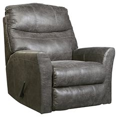 Ashley Furniture Signature Design   Tullos Recliner   Contemporary  Reclining Upholstered Couch   Slate