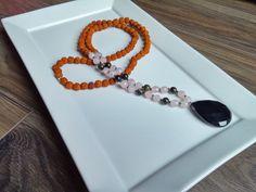 Mala Beads Rose Qtz Obsidian Onyx Rudraksha by AumShantiDesigns