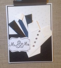 """Mr. & Mrs. 2 inside """"Congratulations!"""" $7.00  paper folded jacket and bodice with gems"""