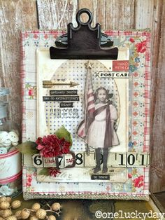 One Lucky Day: Be Brave clipboard using Tim Holtz, Ranger, Idea-ology, Sizzix and Stamper's Anonymous products; June 2015