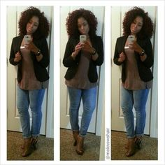 Skinny jeans, tunic top and a blazer with open toe booties...I'm ready ...