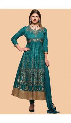 Bottle green Cotton Anarkali churidar Suit With Dupatta - 1782