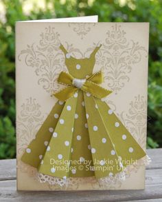 Amazing dress card.  It's about the little details -- pleats, bow, lace bottom and pattern paper.  Love.This!  Thanks sis @Gracie Coleman
