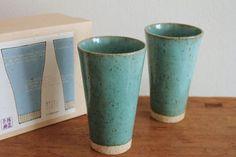 【美濃焼】ターコイズカラーのロングカップ2個セットです。ビアタンブラーとしても使いやすいサイズの陶器製カップです。 - 和食器通販 | 作家の和食器ならうちる
