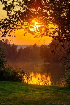 Sunset over The Piscataguis River in Abbot Village, Maine